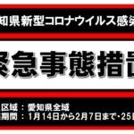 「緊急事態宣言」愛知県に再び発令…今一度気を引き締め、感染予防対策を継続していきます。